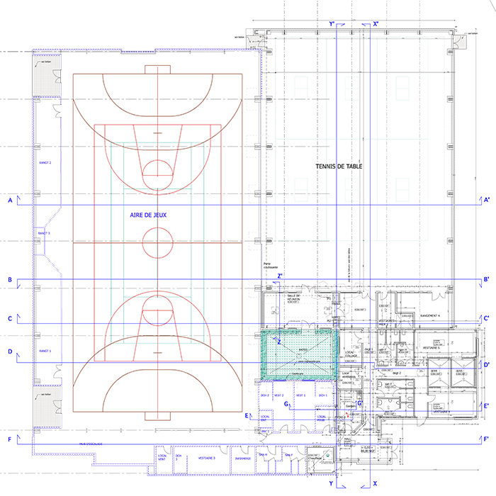 Plan de la construction et de l'extension - Gymnase Descartes, Construction & extension d'une salle multisports